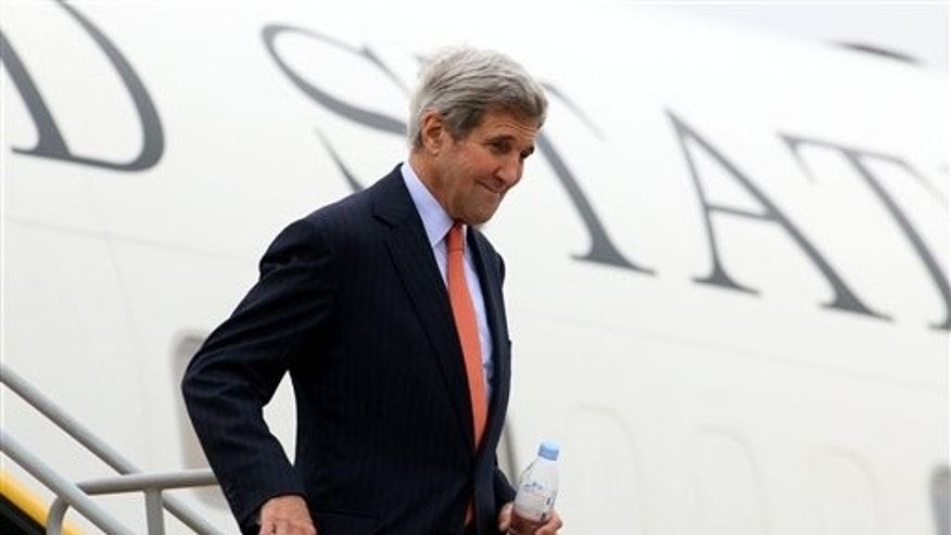 Secretary of State John Kerry arrives in Vienna Thursday. (AP Photo/Ronald Zak)