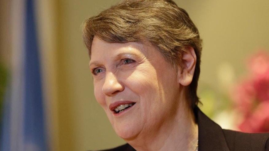 Helen Clark, head of the U.N. Development Program and former New Zealand prime minister, speaks to The Associated Press on the sidelines of an international security summit in Manama, Bahrain, Friday, Oct. 30, 2015. The International Institute for Strategic Studies' Manama Dialogue opened Friday to discuss issues including extremism, security and the future of the Middle East with senior international politicians, analysts and military officials. (AP Photo/Hasan Jamali)