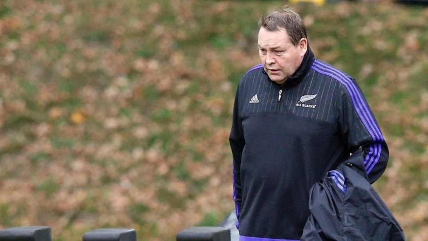 New Zealand's head coach Steve Hansen arrives for a training session at Pennyhill Park, in Bagshot, England, Tuesday, Oct. 27, 2015. New Zealand's All Blacks will play Australia in the Rugby World Cup final on Saturday. (AP Photo/Christophe Ena)