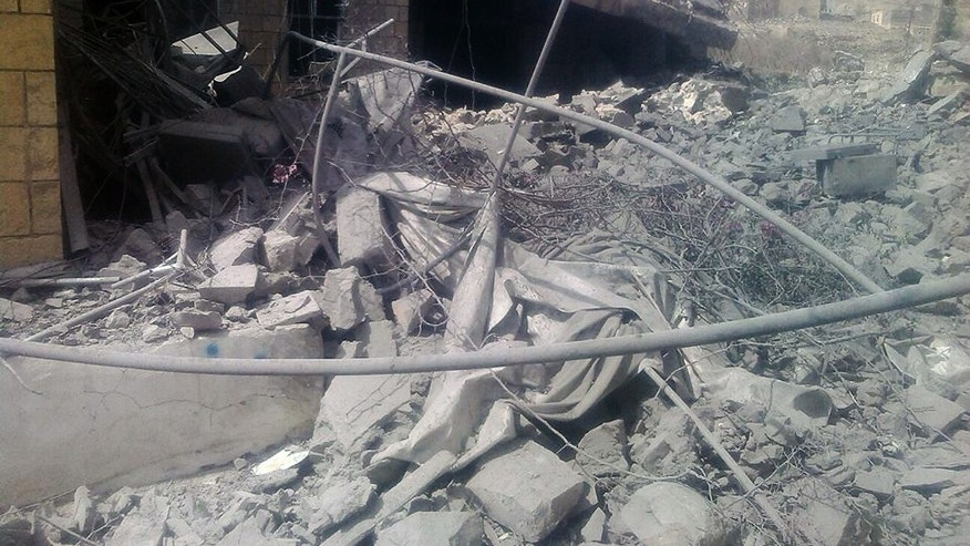 This image taken on Oct. 27, 2015 and released by Médecins Sans Frontières, shows the aftermath of an airstrike on a hospital in Saada province, Yemen. Airstrikes by the Saudi-led coalition targeting rebels in Yemen have destroyed a small hospital run by Doctors Without Borders in the northern province of Saada, although there were no deaths and only one injury, the aid group said Tuesday. (Médecins Sans Frontières via AP)