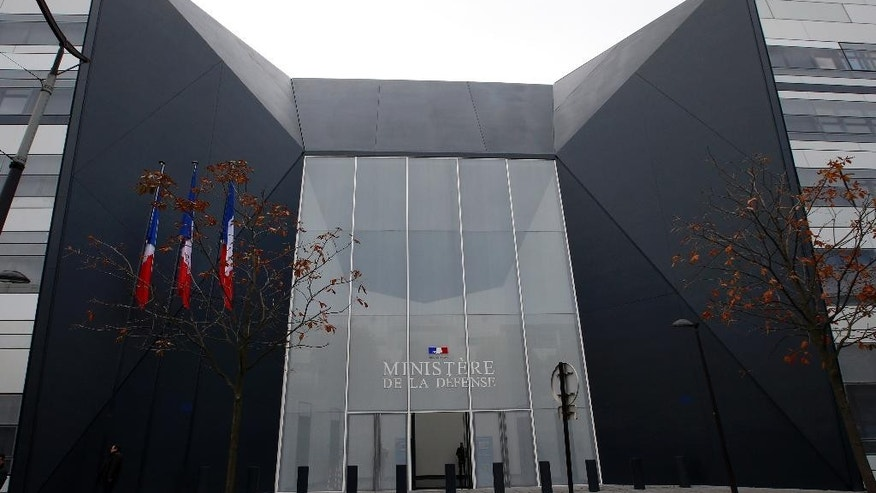 General view of the main entrance of the new building of the French Defense Ministry at Balard district, in Paris, Friday, Oct, 30, 2015. The building's walls are designed to withstand a missile strike and a highly secured operational room is hidden underground. After a particularly dangerous year, French army chiefs are moving into their new defense ministry, dubbed the French Pentagon, aimed at a quicker response to terrorism and other threats. (AP Photo/Francois Mori)