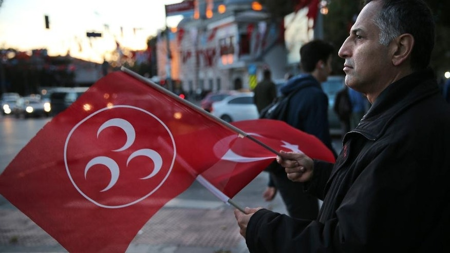 A supporter of Turkey's opposition Nationalist Action Party, (MHP), waves his party and nation flags, in Istanbul, Saturday, Oct. 31, 2015. Turkish political parties have made their closing appeals ahead of Sunday Nov. 1 crucial parliamentary general election vote.  (AP Photo/Hussein Malla)