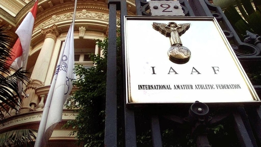 FILE - This Nov.7, 1999 file photo shows the The IAAF (International Amateur Athletic Federation) headquaters in Monaco, Sunday, Nov. 7,1999.  French authorities say Wednesday Nov.4, 2015 that former IAAF President Lamine Diack has been placed under investigation on corruption and money-laundering charges. Diack, who stepped down in August after 16 years in charge of track and field's governing body, is suspected of taking money from Russia to hide positive doping tests. (AP Photo/Lionel Cironneau, File)
