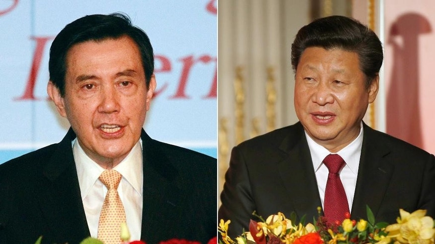 FILE - This combination of file photos show Taiwan's President Ma Ying-jeou, left, and China's President Xi Jinping. Ma and Xi will meet Saturday, Nov. 7 in Singapore for the first time since civil war divided their lands 66 years ago, their governments said Wednesday, Nov. 4, 2015, a highly symbolic move that reflects quickly improving relations between the formerly bitter Cold War foes. (AP Photo/File)
