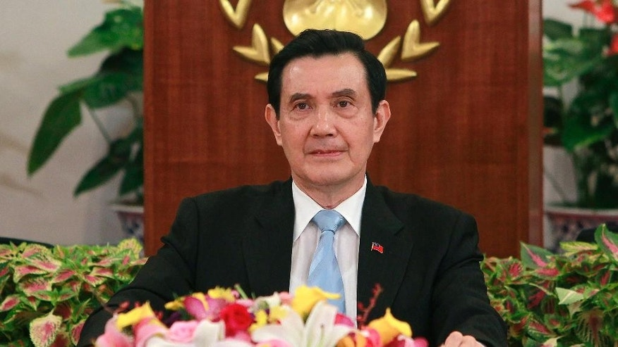 Taiwan's President Ma Ying-jeou takes questions as he addresses media during a press conference detailing his upcoming meeting with China's President Xi Jinping at the Presidential Office in Taipei, Taiwan, Thursday, Nov. 5, 2015.  Taiwanese President Ma Ying-jeou is running into skepticism at home over his impending historic meeting with China's president Xi Jinping, aimed at locking in the dialogue that he has built, from zero, with Beijing during his nearly eight years in office. (AP Photo/Chiang Ying-ying)