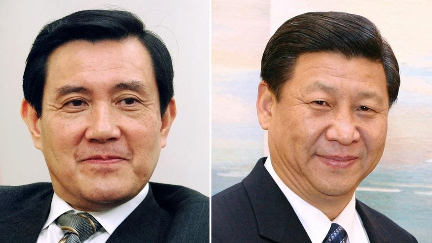 FILE - This combination of file photos show Taiwan's President Ma Ying-jeou, left, and China's President Xi Jinping. Taiwan's Ma and China's Xi are the first leaders from the two sides to meet since their territories split during the Chinese civil war in 1949. Ma is the successor to Chiang Kai-shek, whose Nationalists retreated to the island, while Xi now leads Mao Zedong's victorious Communists, who set up government in Beijing. (AP Photo/File)
