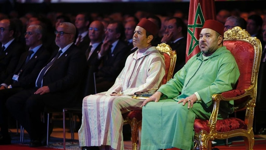 Morocco's King Mohammed VI right, and his brother Prince Moulay Rachid, begin a campaign to promote Morocco's decentralization plan and boost investment in Laayoune, the capital of disputed territories of the Western Sahara, Saturday, Nov. 7, 2015. King Mohammed VI is making his first official visit to the Western Sahara since 2006 to mark the 40th anniversary of the Green March, when thousands of unarmed Moroccans were sent by his father, the late King Hassan II, to pressure the Spanish army to withdraw from the territory. (AP Photo/Abdeljalil Bounhar)