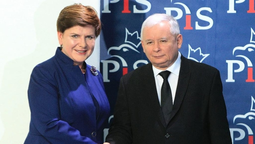 Jaroslaw Kaczynski, right, the leader of the conservative Law and Justice party, PiS, shakes hands with designated prime minister Beata Szydlo after she announced members of her new cabinet  in Warsaw, Poland, Monday, Nov. 9, 2015. (AP Photo/Czarek Sokolowski)