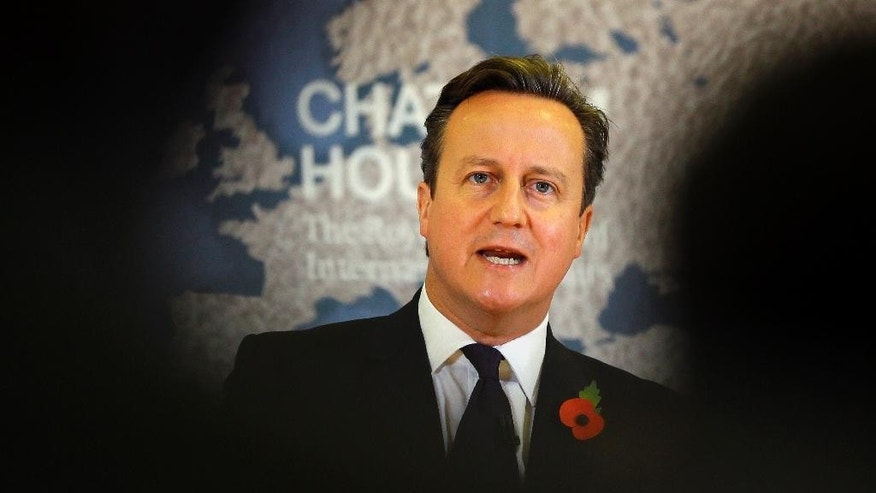 Britain's Prime Minister David Cameron delivers a speech on EU reform and the UK's renegotiation, at Chatham House in London, Tuesday, Nov. 10, 2015.  Cameron on Tuesday formally launched his bid to renegotiate Britain's membership within the European Union, setting out four key demands for EU reform.  (AP Photo/Kirsty Wigglesworth, pool)
