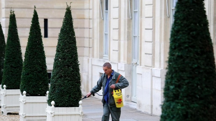 An employee sprays algicide in the courtyard of the Elysee Palace after French President Francois Hollande met with business leaders to discuss the carbon prices, as part of the preparation of the upcoming Climate Conference, Tuesday Nov. 10, 2015 in Paris. The Nov. 30-Dec. 11 climate conference will take place in Le Bourget, outside Paris. (AP Photo/Jacques Brinon)