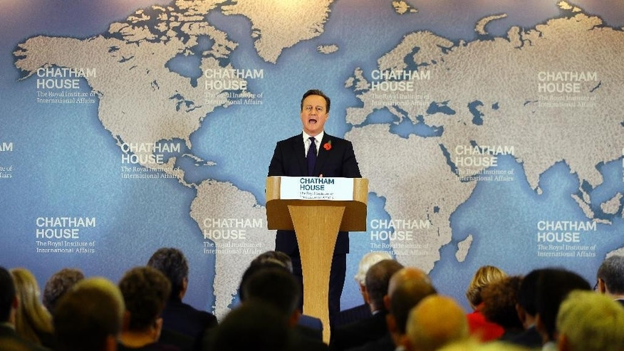 Britain's Prime Minister David Cameron delivers a speech on EU reform and the UK's renegotiation, at Chatham House in London, Tuesday, Nov. 10, 2015. Cameron on Tuesday formally launched his bid to renegotiate Britain's membership within the European Union, setting out four key demands for EU reform.(AP Photo/Kirsty Wigglesworth, pool)