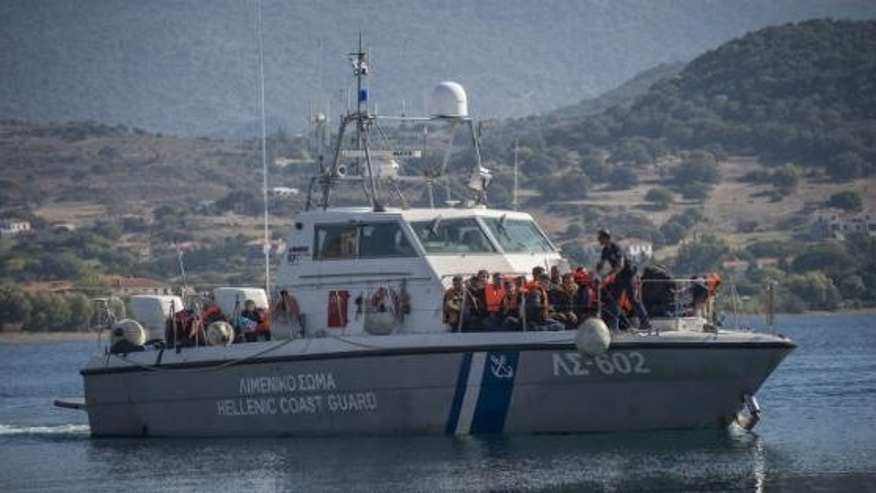 A refugee boat approaching Greece.