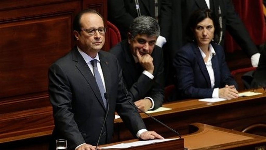 French President Francois Hollande addressing parliament.