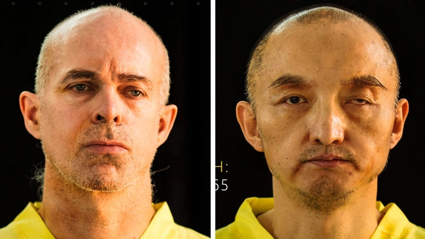FILE - This file combination of undated photos taken from the Islamic State group's online magazine Dabiq purports to show Ole Johan Grimsgaard-Ofstad, 48, from Oslo, Norway, left, and Fan Jinghui, 50, from Beijing, China.