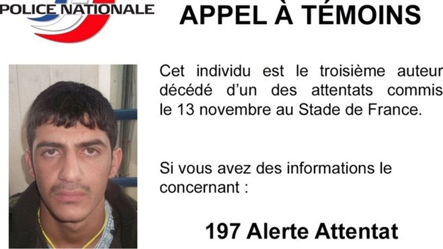 French National Police tweeted this photo and said the man is the third suspect in the Stade de France attack on November 13.