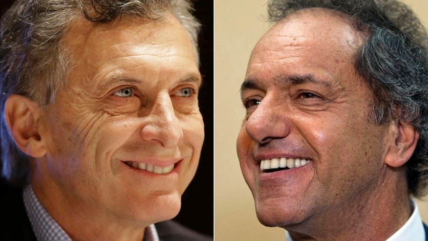 FILE - This combo of file photos show opposition presidential candidate Mauricio Macri, left, during a city police ceremony, Oct. 28, 2015, and ruling party presidential candidate Daniel Scioli at a press conference, Aug. 10, 2015, both in Buenos Aires, Argentina. The candidates will face off in a runoff election Sunday that is seen as a referendum on the left-leaning policies of polarizing President Cristina Fernandez. Over the course of the campaign, which officially began in July but really started long before that, both candidates have at times tried to straddle the center and appeal to supporters of the competition. (AP Photo/Victor Caivano, Natacha Pisarenko, File)