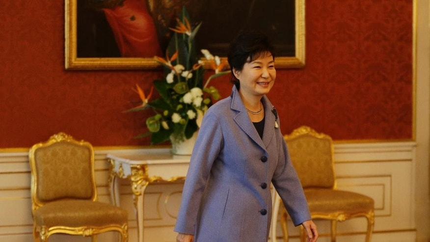 South Korean President Park Geun-hye arrives at the Prague castle during her working visit in Prague, Czech Republic, Wednesday, Dec. 2, 2015. (AP Photo/Petr David Josek)