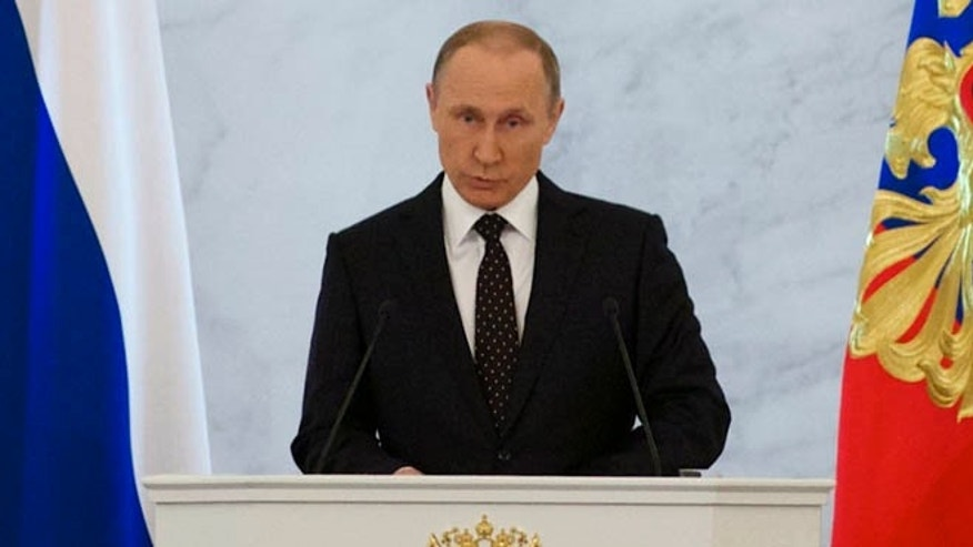Dec. 3, 2015: Russian President Vladimir Putin gives his annual state of the nation address in the Kremlin in Moscow, Russia.