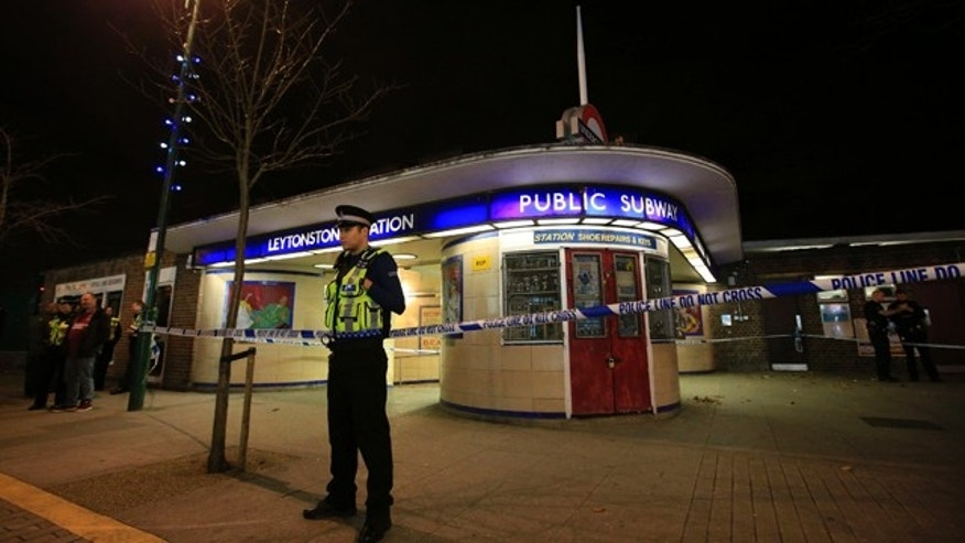 Dec. 5, 2015: Police cordon off Leytonstone Underground Station in east London following a stabbing incident. (Jonathan Brady/PA via AP)