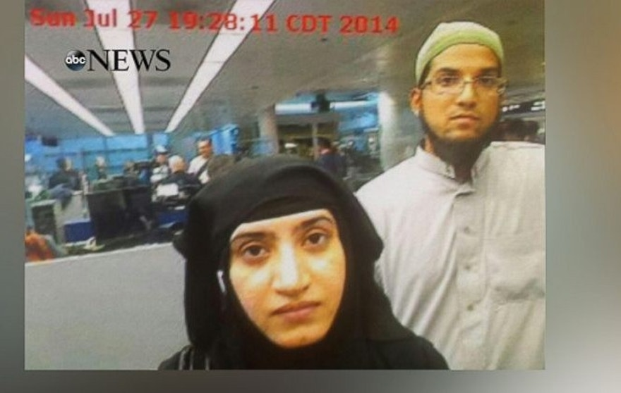 The photo obtained by ABC News shows Tashfeen Malik and Syed Rizwan Farook going through customs at Chicago's O'Hare Airport in 2014.