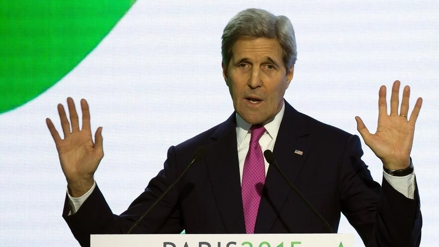 Dec. 9, 2015: U.S Secretary of State John Kerry delivers his speech during a news conference at the COP21 Climate Conference in Paris.