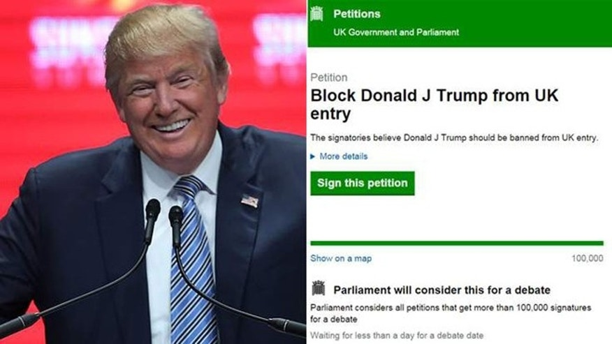 A petition calling for presidential hopeful Donald Trump to be banned from entering the UK has attracted more than 200,000 signatures.