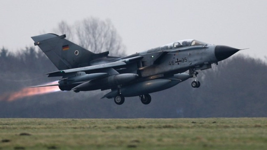 Dec. 10, 2015: A German air force Tornado jet takes off from the German army Bundeswehr airbase in Jagel, northern Germany.