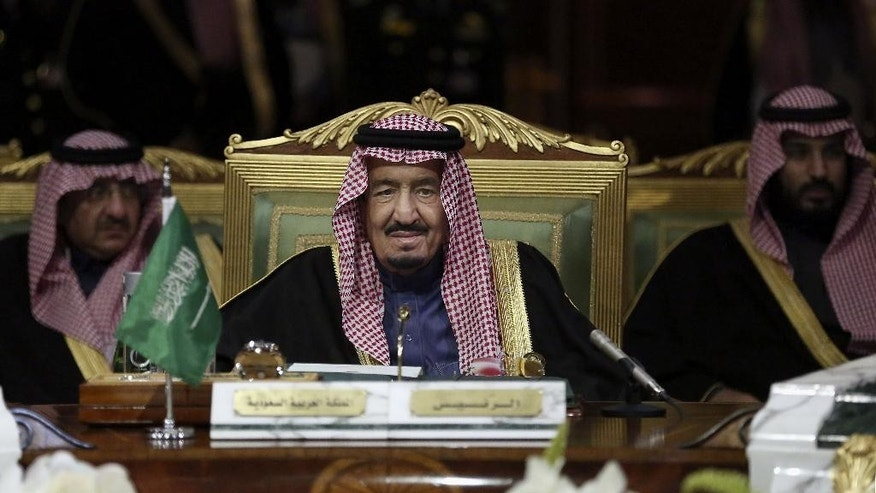 King Salman of Saudi Arabia, center, opens the 36th session of the Gulf Cooperation Council Summit in Riyadh, Saudi Arabia, Wednesday, Dec. 9, 2015. (AP Photo/Khalid Mohammed)