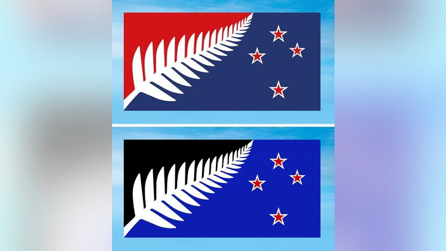 This combination of undated illustrations provided by the New Zealand Government shows two flag designs; Silver Fern (Red, White and Blue), top, and Silver Fern (Black, White and Blue), bottom, both by Kyle Lockwood, which New Zealanders are considering as a possible new national flag. New Zealanders have chosen a design for a possible new national flag with preliminary results from a postal ballot announced Friday, Dec. 11, 2015, with the results too close to call between two flags featuring the country's iconic silver fern sitting next to the stars that make up the Southern Cross constellation, but using different colors. The winner will be announced Tuesday once all votes are counted. The flag will then be pitted head-to-head against the current flag in a second vote to be held in March. (New Zealand Government via AP)