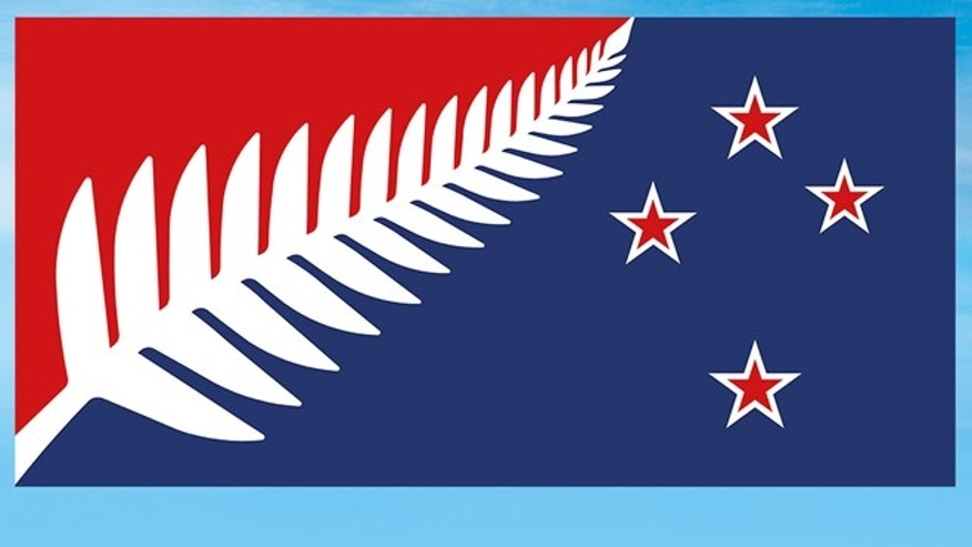 Dec. 11, 2015: This undated illustration provided by the New Zealand Government shows a Silver Fern (Red, White and Blue) flag design, which New Zealanders are considering as a possible new national flag.