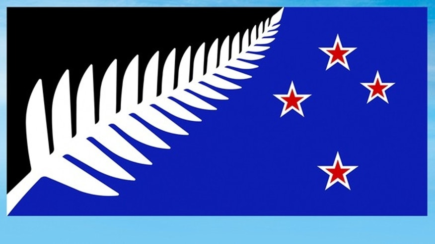 This illustration shows a Silver Fern (Black, White and Blue) flag design.