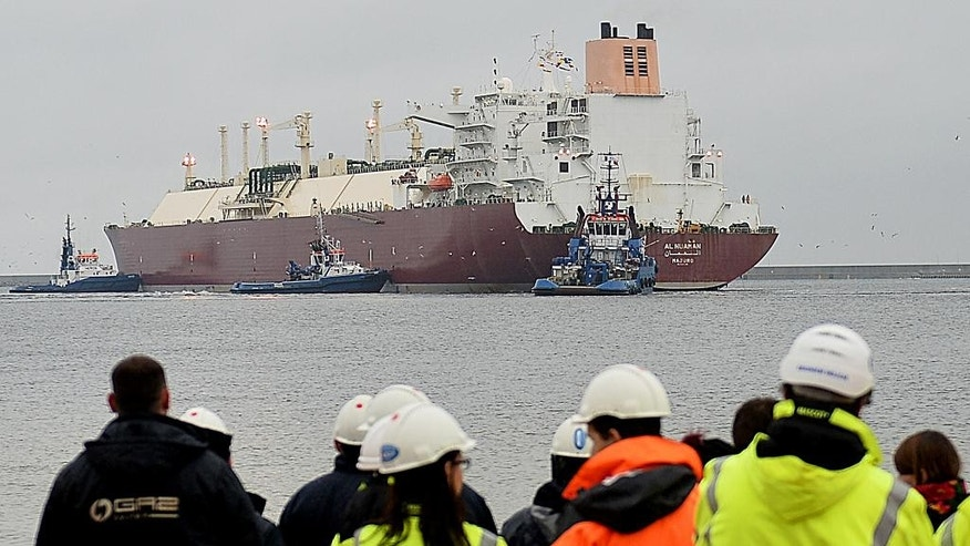 As Poland seeks to diversify its energy sources and cut Russian import gas prices,  the giant LNG ship Al Nuaman, which carries some 200,000 cubic meters of liquefied gas, arrives in the Baltic port of Swinoujscie, Poland, on Friday, Dec. 11, 2015, after 21 days of travel from Qatar. The gas will be used to start operations at the Swinoujscie gas terminal, which should be fully operational in mid-2016 following months of delay. It is the biggest LNG terminal on the Baltic Sea and one of the largest in Europe.(AP Photo/ Lukasz Szelemej)