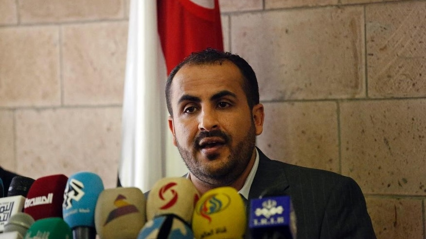 The spokesman of the Shiite rebels known as Houthis, Mohammed Abdel Salam, speaks at a press conference prior to the departure of the Houthi delegation for the Geneva peace talks, in Sanaa, Yemen, Saturday, Dec. 12, 2015. The fighting in Yemen pits the Houthis and troops loyal to former President Ali Abdullah Saleh against southern separatists, local and tribal militias, Sunni Islamic militants and President Hadi's loyalists. (AP Photo/Hani Mohammed)