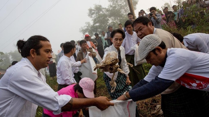 Leader of National League for Democracy party (NLD) Aung San Suu Kyi, center, picks garbage during a clean-up drive initiated by Suu Kyi in Kawhmu, Myanmar Sunday, Dec. 13, 2015. Suu Kyi lead the garbage collection on early foggy Sunday in Kawhmu township of Yangon region, where she won her seat for the Lower House in the country's general election. (AP Photo/Gemunu Amarasinghe)