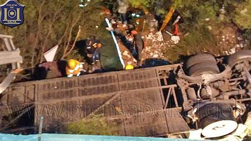 Dec. 14, 2015: The scene of a deadly bus crash in Argentina that has left at least 41 police members dead.