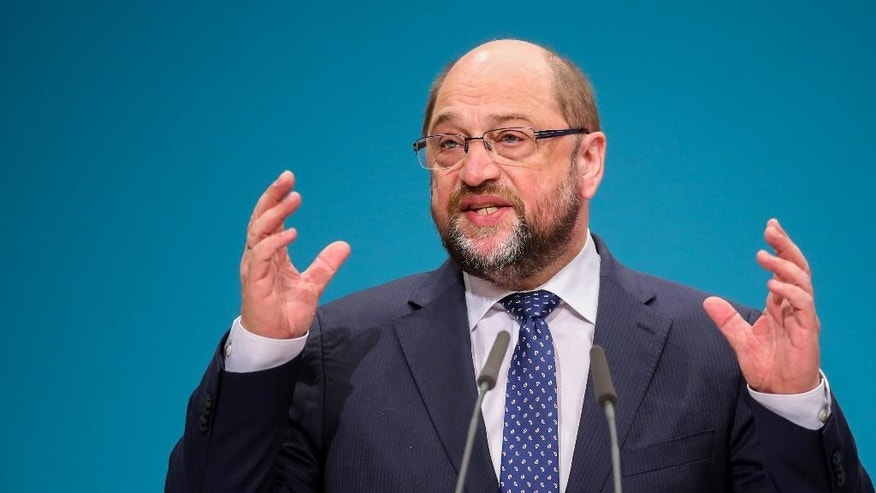 Martin Schulz, president of the European Parliament  delivers a speech at the national convention of Germany's Social Democratic Party, SPD, in  Berlin, Germany, Saturday Dec. 12, 2015. (Kay Nietfeld/dpa via AP)