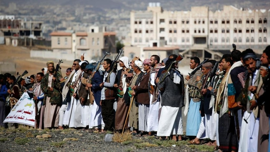 Shiite tribesmen, known as Houthis, attend a tribal gathering showing support for the Houthi movement in Sanaa, Yemen, Monday, Dec. 14, 2015. (AP Photo/Hani Mohammed)