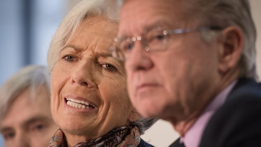 Dec. 11, 2015: Managing Director of the International Monetary Fund Christine Lagarde attends a press conference with IMF colleague Gerry Rice at the Treasury in London.