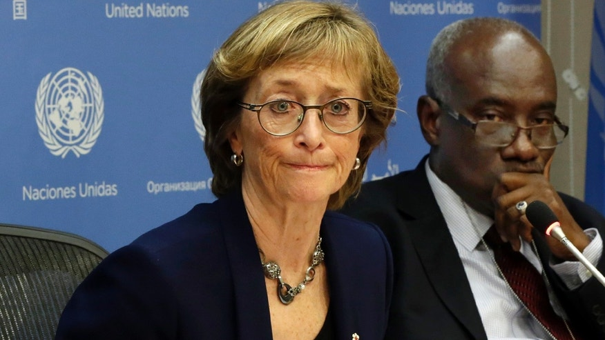 Dec. 17, 2015: Canadian judge Marie Deschamps, left, chair of the Independent Review Panel on UN Response to Allegations of Sexual Abuse by Foreign Military Forces in the Central African Republic, is joined by panel member Hassan Jallow at a news conference. (AP Photo/Richard Drew)