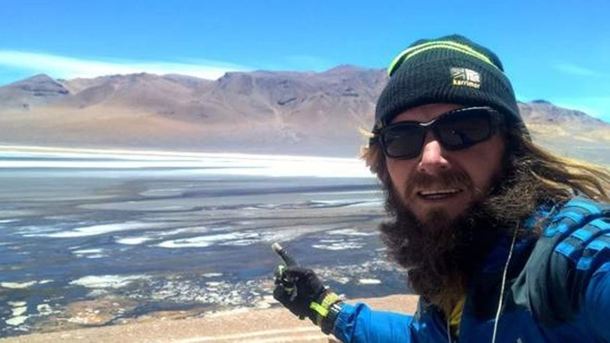 Jamie Ramsay on the high plains of the Andes mountains. (Sky News)