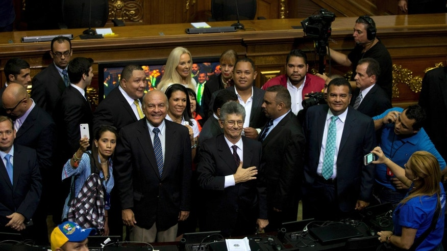 Henry Ramos Allup upon his arrival to the National Assembly in Caracas, Tuesday, Jan. 5, 2016.