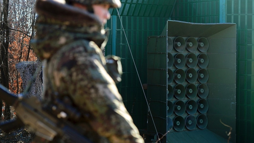Jan. 8, 2016: A South Korean soldier stands near the loudspeakers near the border area between South Korea and North Korea in Yeoncheon, South Korea (Lim Tae-hoon/Newsis via AP)