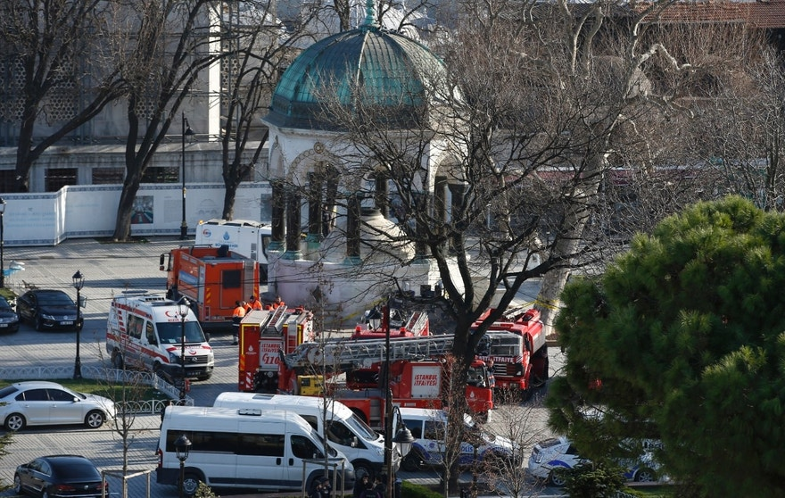 Rescue services vehicles are parked at the site of an explosion in the  historic Sultanahmet district of Istanbul, Tuesday, Jan. 12, 2016. The explosion killed several people and wounded 15 others Tuesday morning in a historic district of Istanbul popular with tourists. Turkish President Recep Tayyip Erdogan said a Syria-linked suicide bomber is believed to be behind the attack.(AP Photo/Emrah Gurel)
