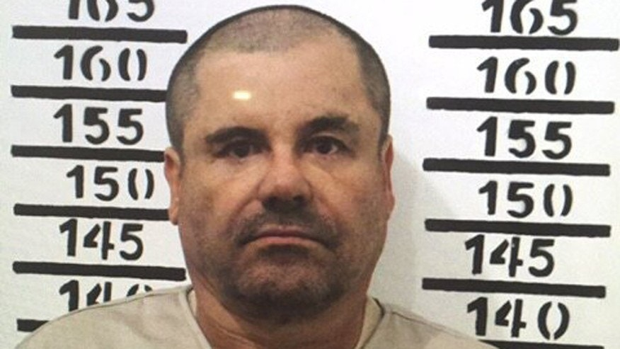 "Jan. 8, 2016: Mexico's most wanted drug lord, Joaquin ""El Chapo"" Guzman, stands for his prison mug shot with the inmate number 3870 at the Altiplano maximum security federal prison in Almoloya, Mexico"