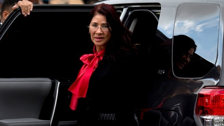 Venezuela&'s First Lady Cilia Flores arrives to the National Pantheon for a ceremony marking the anniversary of the death of independence hero Simón Bolívar in Caracas, Venezuela, Thursday, Dec. 17, 2015. Two nephews of Venezuela's powerful first lady pleaded not guilty on Thursday in a New York courtroom to U.S. cocaine-smuggling charges.  (AP Photo/Fernando Llano)
