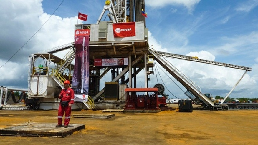 An oil well operated by Venezuela's state-owned oil company PDVSA in Morichal, Venezuela.