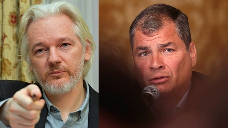 (Left photo): WikiLeaks founder Julian Assange reacts during a press conference, where he confirmed he 'will be leaving the embassy soon', in the Ecuadorian Embassy on August 18, 2014 in London, England. (Right photo): Ecuador's President Rafael Corrrea speaks during a meeting with the foreign press, in Quito, Ecuador, Wednesday, Jan. 20, 2016.  (AP Photo/Dolores Ochoa)