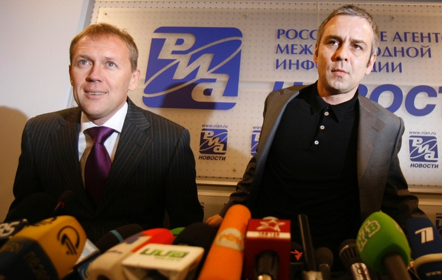 FILE - In this Nov. 1, 2007 file photo, Andrei Lugovoi, left, a former KGB officer, and his associate Dmitry Kovtun agttend a news conference in Moscow, Russia. British police have accused Kovtun and Lugovoi, the two Russians former KGB agent Alexander Litvinenko met for tea, of carrying out the killing, sponsored by elements in the Kremlin. Both deny involvement, and Moscow refuses to extradite them. On Thursday, Jan. 21, 2016, British judge Robert Owen will release the long-awaited findings of a public inquiry into the killing of Litvinenko — and is likely to point a finger at elements in the Russian state. (AP Photo/Sergey Ponomarev, File)