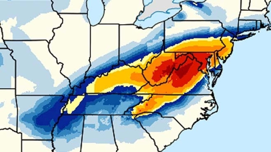 This image provided by National Oceanic and Atmospheric Administration's (NOAA) shows a computer model forecasting the chances of a snow storm hitting the East Coast this weekend, Jan. 22-23, 2016. Snow up to two feet, was forecast for areas west and southwest of the Washington, with Washington possibly getting 15 to 20 inches, Philadelphia could see 12 to 18, and New York City and Long Island could see 8 to 10,  (National Oceanic and Atmospheric Administration via AP)