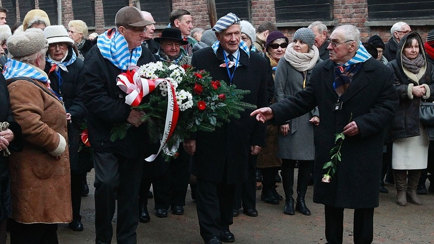 Jan. 27, 2016: Holocaust survivors commemorate the people killed by the Nazis at the former Auschwitz Nazi death camp in Oswiecim, Poland.